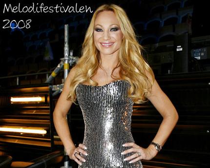 Charlotte Perrelli som blond Melodifestivalen 2008.