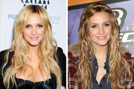 Ashlee Simpson i december 2008 och oktober 2006.