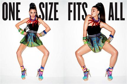 "Modejobbet ""One Size Fits All"" fotat av Terry Richardson för V Magazine."