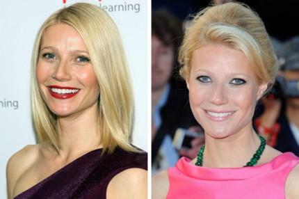 Gwyneth Paltrow lägger antingen fokus på läpparna eller ögonen.