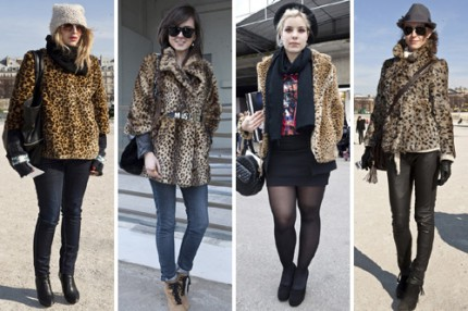 Leopardmönstrade fuskpälsar under Paris Fashion Week, A/W 2010.