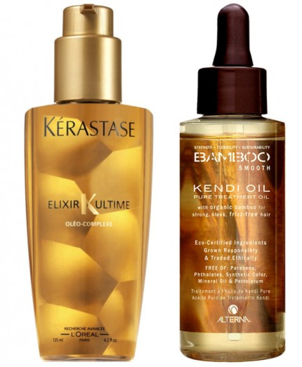 Kérastase Elixir Ultime och Alterna Bamboo Smooth Kendi Oil Pure Treatment Oil.