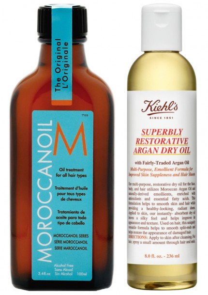 Moroccanoil Original Treatment och  Kiehl's Superbly Restorative Argan Dry Oil.