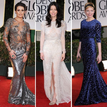 Lea Michele, Jessica Biel och Michelle Williams på Golden Globe Awards 2012.