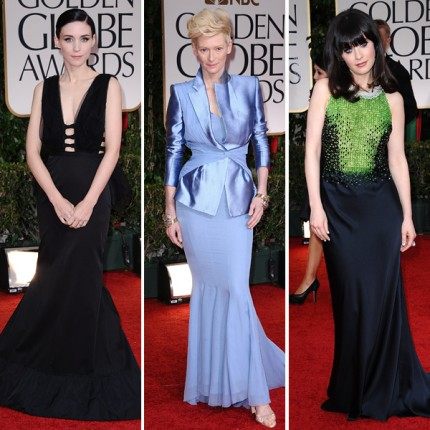 Rooney Mara, Tilda Swinton och Zooey Deschanel på Golden Globe Awards 2012..
