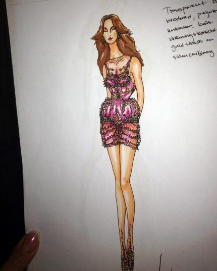 Skiss på Charlotte Perrellis klänning gjord av William Wahlström.