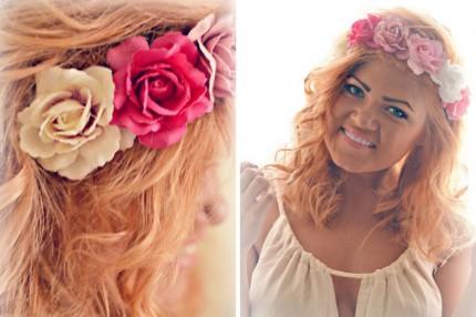 blommor i håret glitter