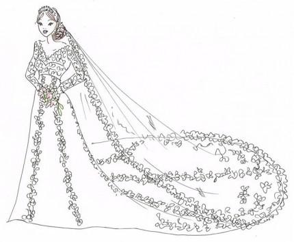 Ida Sjöstedts skiss av Sofia Hellqvists brudklänning.