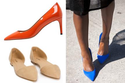 skor med spetsig tå
