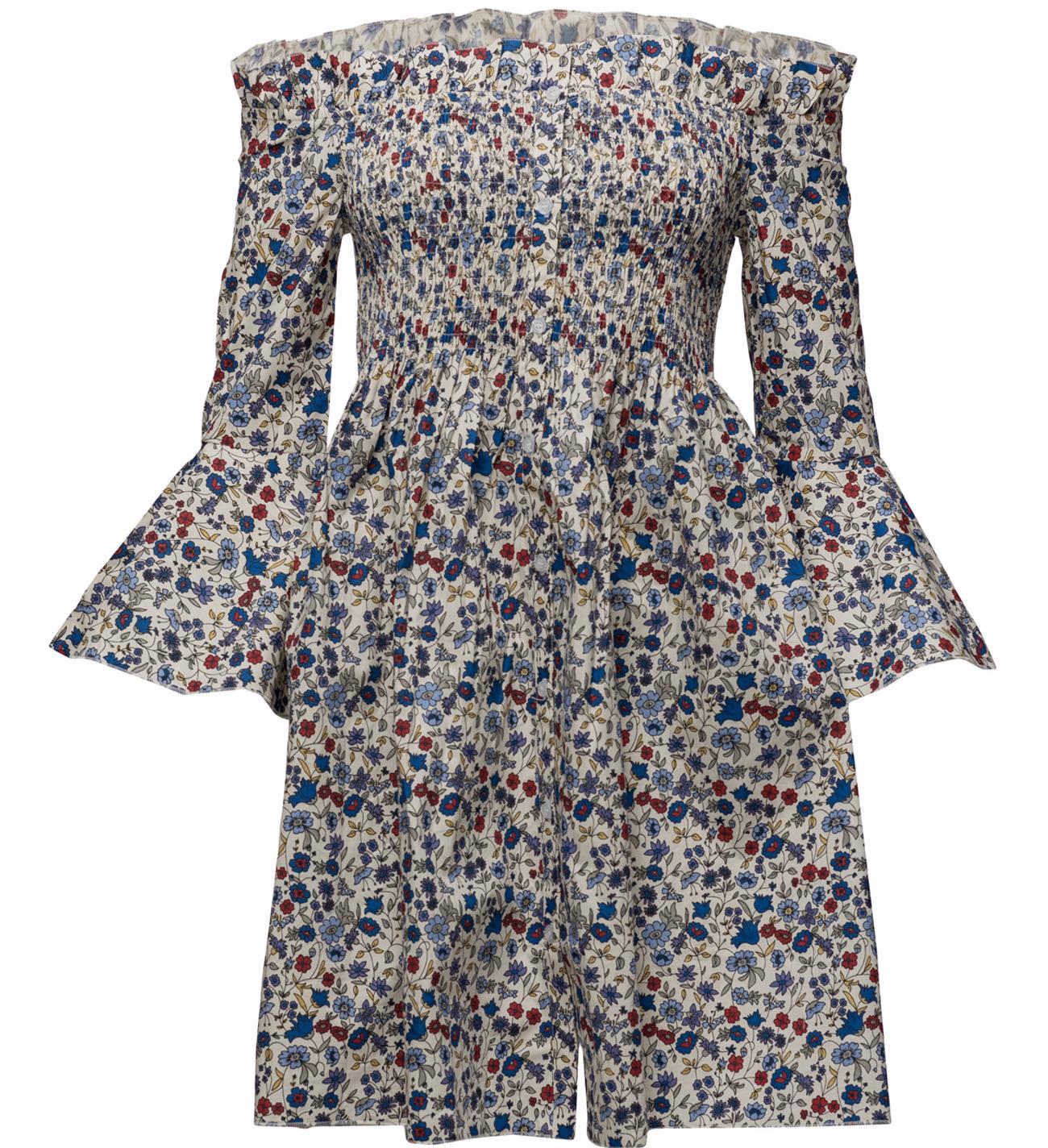 off shoulder blommig klänning