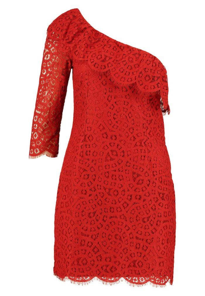 67b4bc76a981 Röd one shoulder-klänning från Mint & Berry (reklamlänk via Zanox) . Shoppa  den här. (reklamlänk via Zanox)
