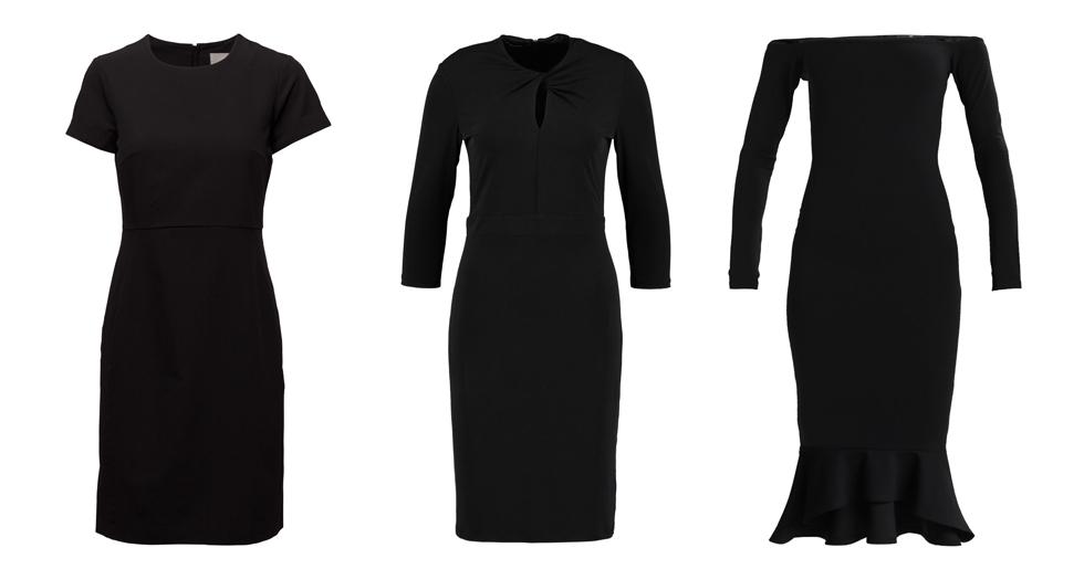 den lilla svarta klänning kvinna basgarderob