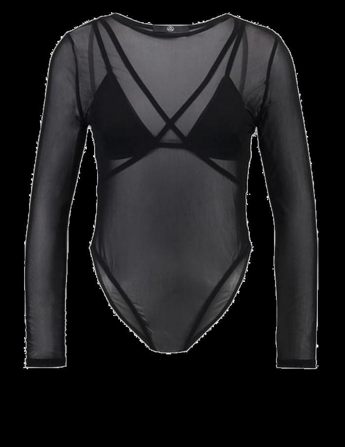 svart genomskinlig tröja