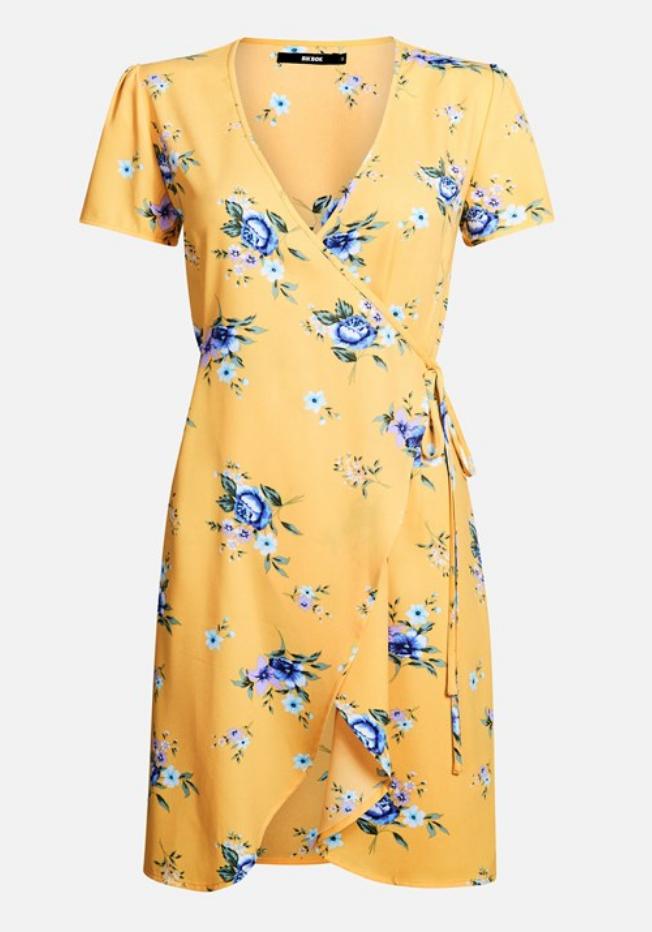 gul klänning dam