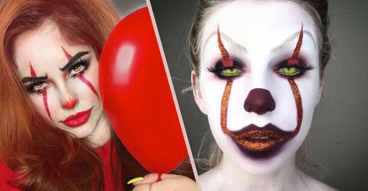 läskig clown sminkning