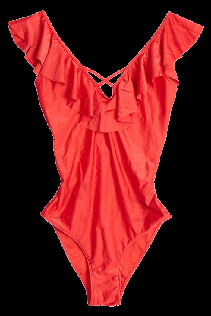 Röd baddräkt med volanger från Gina tricot (reklamlänk via Tradedoubler) . 11ab555050149