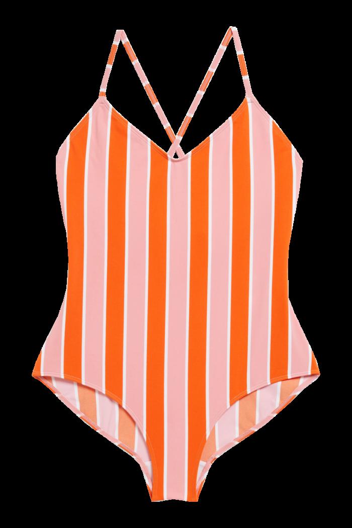 Randig baddräkt i rosa och orange från Monki (reklamlänk via Apprl) . 7bf6b1859b0f1