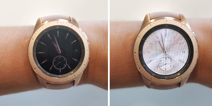 Samsung Galaxy Watch med funktionen Always on Display aktiverad