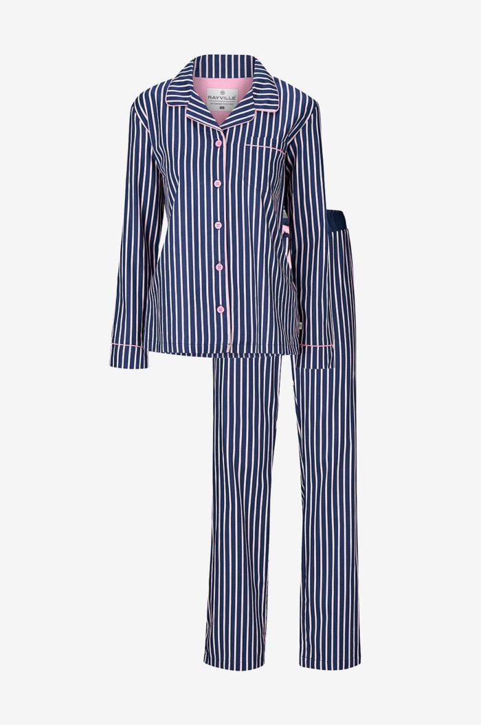 Blå randig pyjamas till julen