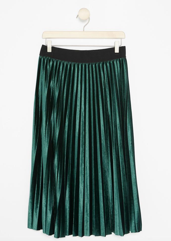 Grön plisserad kjol till fest