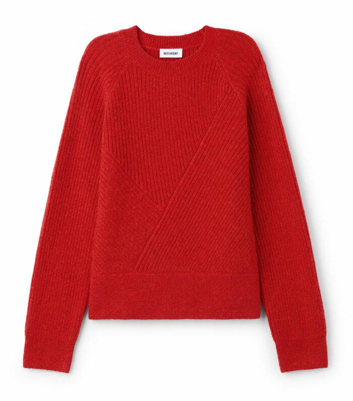 Röd stickad tröja till jul