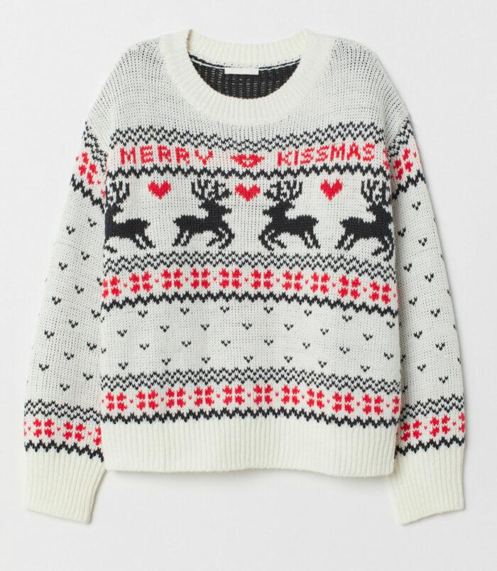 Vit stickad tröja till jul