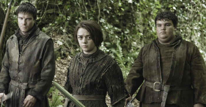 Gendry, Arya och Hot Pie i Game of Thrones.