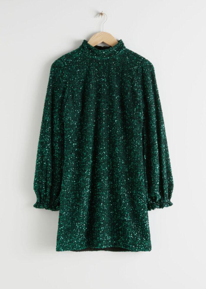Grön paljettklänning med lång ärm och hög hals för dam till nyår 2019