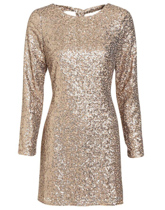Guldig paljettklänning för dam till nyårsafton 2019