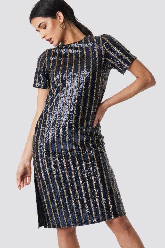 Randig paljettklänning för dam till 2019