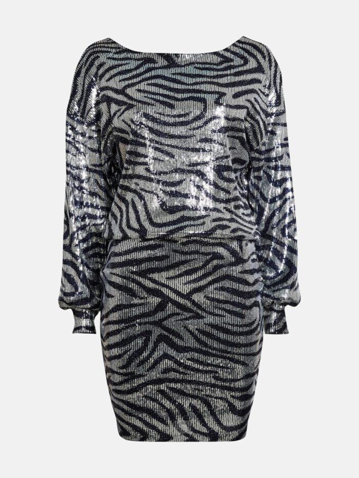 Zebramönstrad paljettklänning för dam till nyårsafton 2019