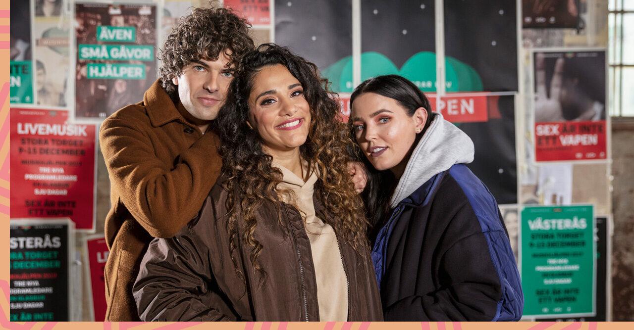 Daniel Hallberg, Farah Abadi och Miriam Bryant är programledare för Musikhjälpen 2019