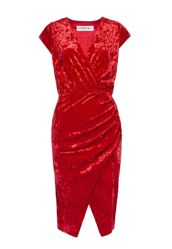 Röd sammetsklänning för dam till 2019