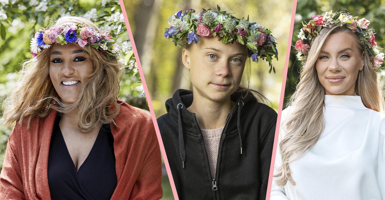 Betlehem isaak, greta Thunberg och Therese Lindgren med blomsterkrans i håret