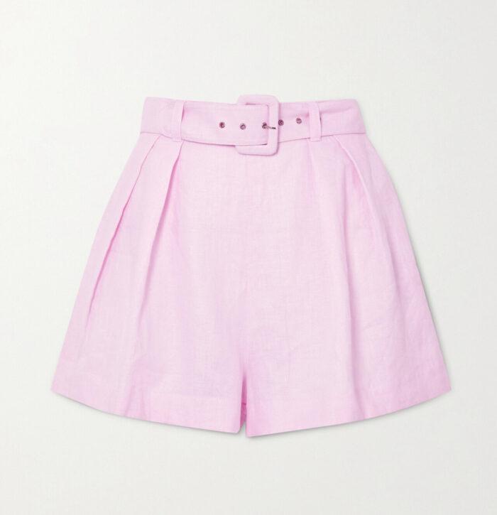 Rosa shorts i linne för dam till 2020