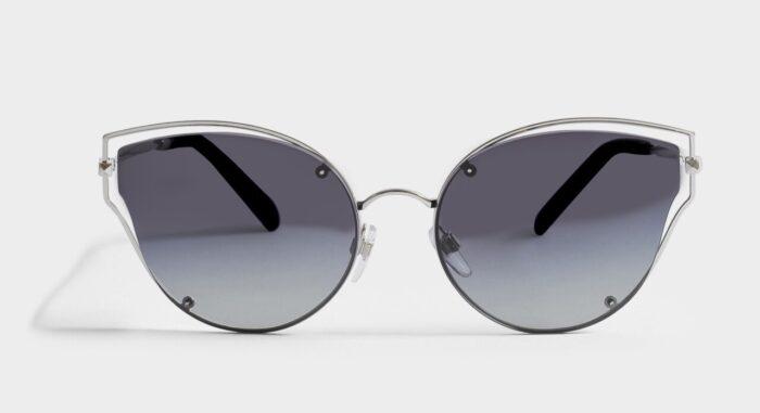 Grå solglasögon med tunn metallbåge från Valentino på rea