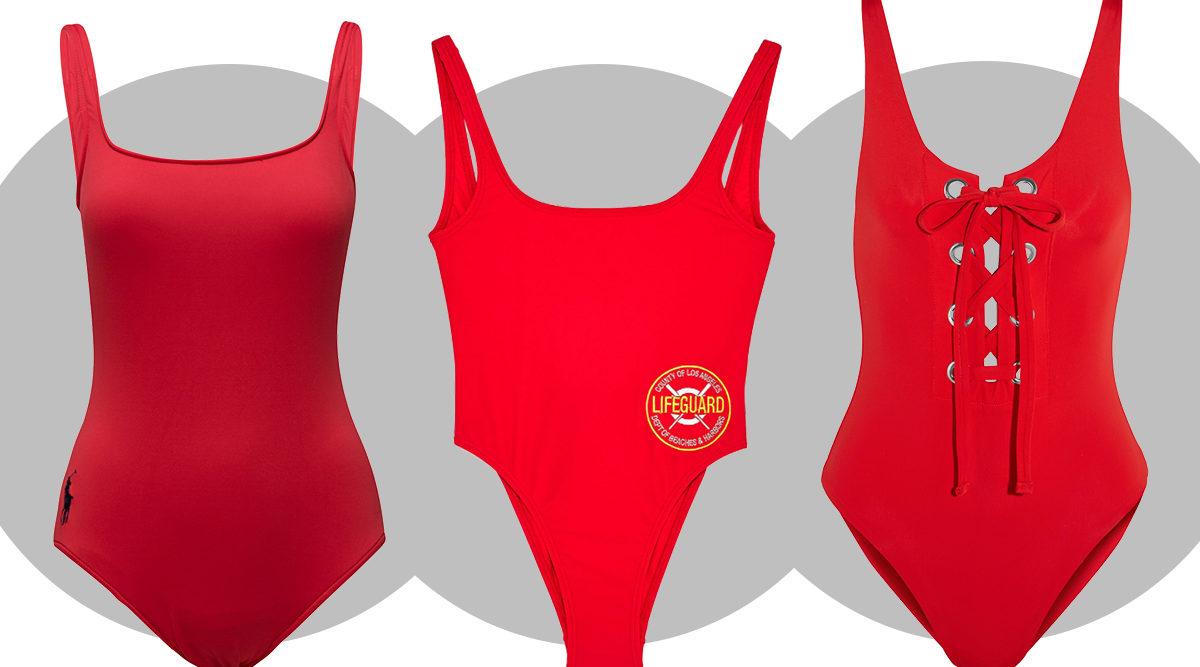Röd Baywatch-inspirerad baddräkt är modevärldens måste i sommar 160e7816f691a