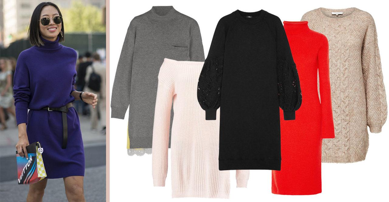 Stickade klänningar som sätter stilen (och håller dig varm) i vinter