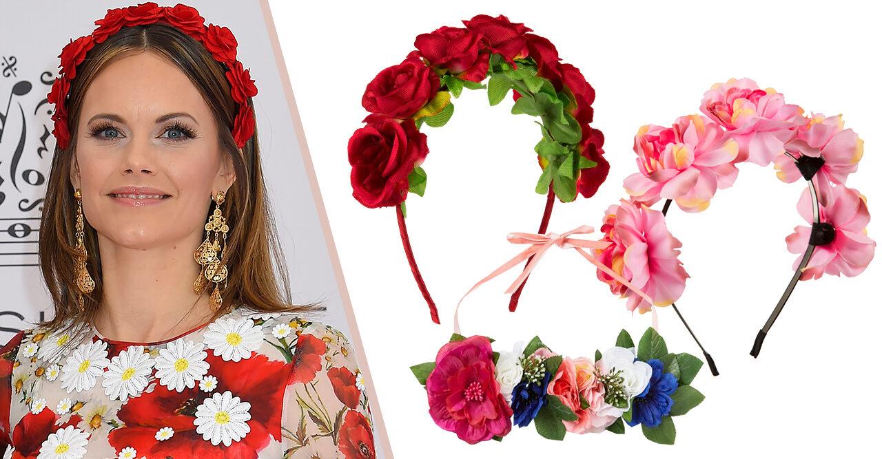 34f038ed8193 Prinsessan Sofia bar diadem med röda rosor – perfekt till midsommar