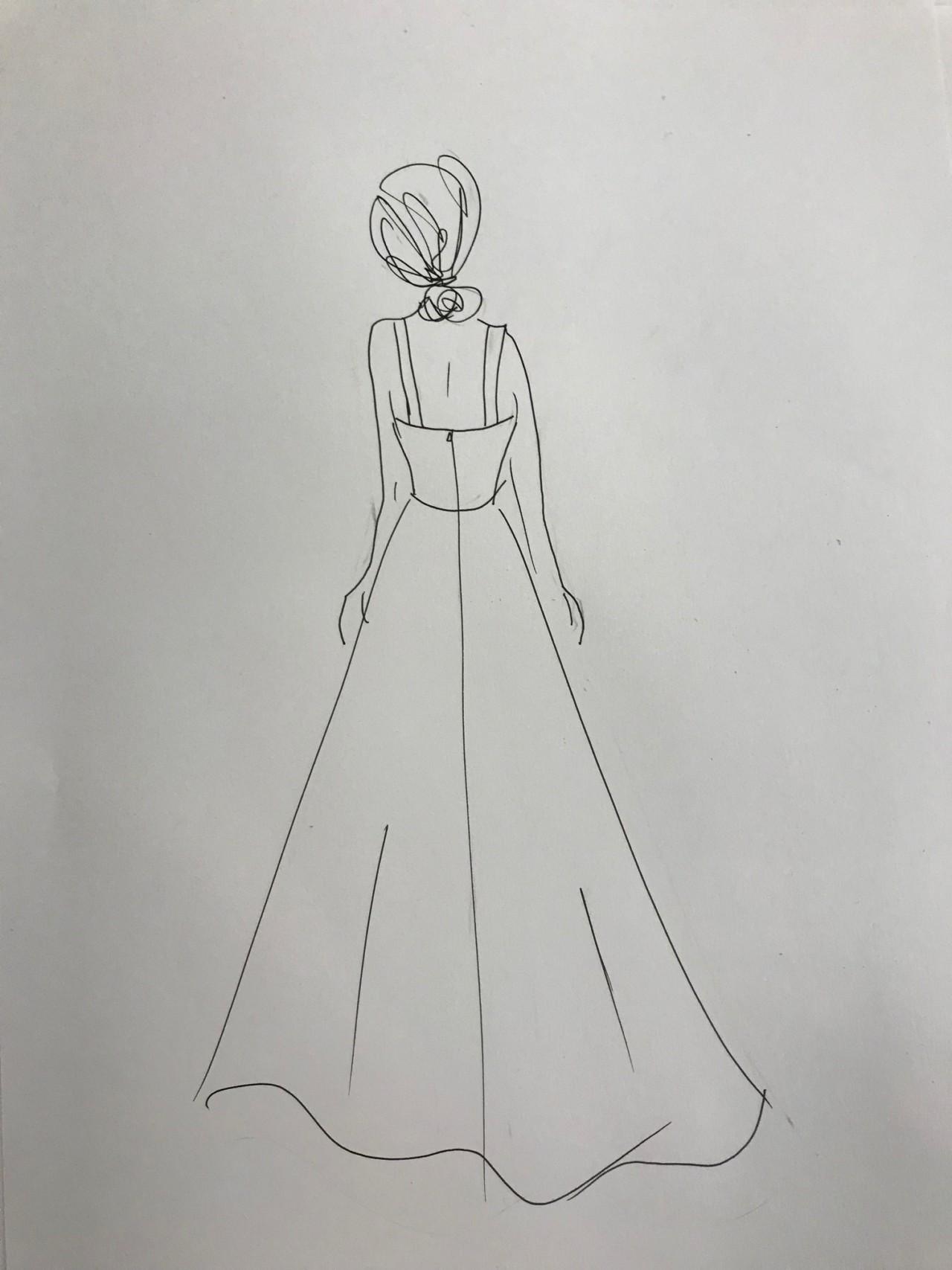 4ec3e92dbf7b Idas skisser efter vår första konsultation om hur jag ville ha min  drömklänning! Jag visste direkt att jag ville ha en väldigt enkel och clean  modell.